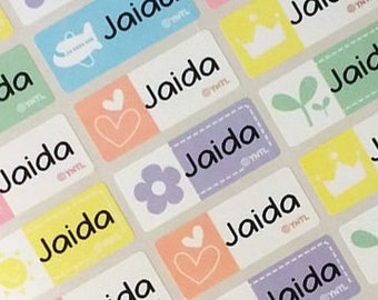 Kids Name Stickers Personalized Waterproof Name Labels Happy Icon Children Labels printed name tags,name tapes, vinyl name, cute, MEDIUM