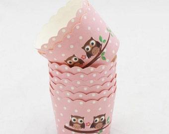 50 Pcs Owl Paper Cupcake Liner