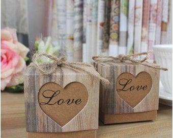 50 Pcs Mini Love Heart Kraft Gift Boxes with Burlap Twine