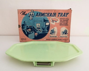 Collapsible mint green armchair tray '50s, midcentury, EmBee UK, with original box,