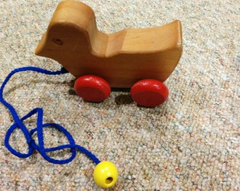 Vintage Wooden Duck Pull Toy