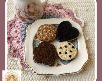 Crochet Cookies, Children's Play Food, Children's Pretend Food, Crochet Biscuits, Crochet Food, Play Cookies, Pretend Cookies, Play Cookies