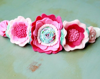 Pink and Teal Flower Crown