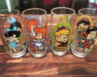 Flinstone Glasses (Pizza Hut Retro 1986)  Set of 4