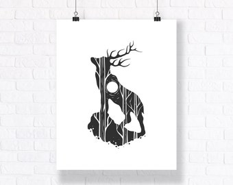 Deer Under The Moonlight. Hand Drawn Black and White Abstract Illustration.
