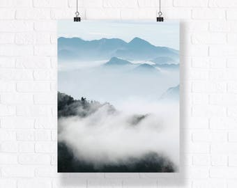 Misty Mountains of Taiwan. High Quality Atmospheric Nature Print. Combine with Other Prints to Create Your Very Unique Gallery Wall.