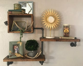 Three Tier Shelf Chunky Industrial Pipe Shelf Wall Shelf Reclaimed Wall Shelf Industrial Wall Shelf Chunky Wood Multi Level Shelf Box Shelf