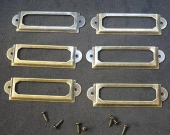 A set of 6 vintage aged brass filing cabinet label holder drawer with screws