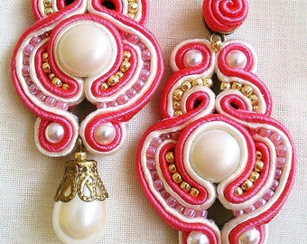 Pending soutache in Pearl White and coral. Completely handmade. Exclusive design.