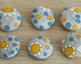 Flower button, fabric button, handmade button, 6 pieces