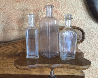 Antique Apothecary Glass Bottles~Shabby Farmhouse Cottage Chic Vase~Old Medical Medicine~Art Collection of 3~Home Decor Collectibles~Sweet~