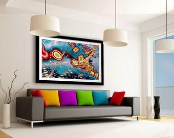 Red and yellow art print, Fineart abstract, Wall art for boss, Visual art, Digital art, Abstract print art, Modern art, Living room decor