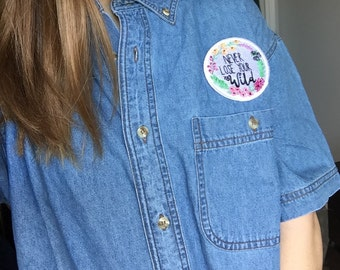 Denim Button Up with Wildflower Patch