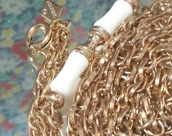 Sarah Coventry gold chain white beaded necklace