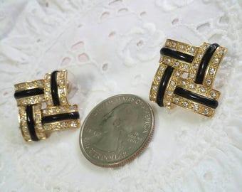 Signed Roman gold and black rhinestone post earrings