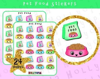 24 Cute Pet Food Planner Stickers, Cat, Dog, Rabbit, Perfect for your Happy Planner, Erin Condren, Filofax, Diary etc, UK