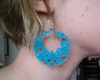 Blue acrylic circle earrings
