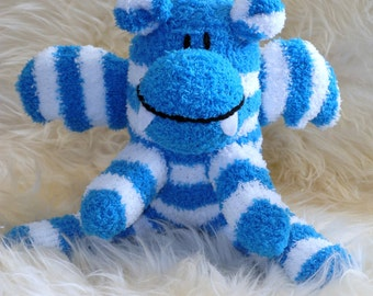 dragon blue, white, Stuffed Animal Hand Stitched Sock Critter stuffy cuddly toy fuzzy monster lovies