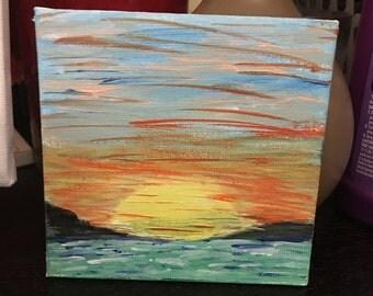 Sunrise in Acrylic paint