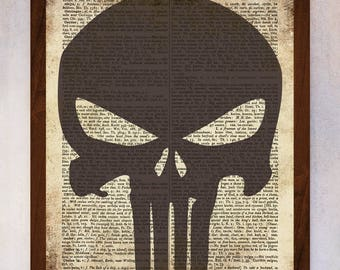 Punisher Logo poster, Punisher wall art, Vintage dictionary print, Punisher Logo Print, Book Page Print, Dictionary Art, Illustration Art