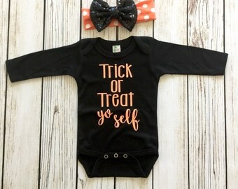 Trick or Treat Yo Self Baby Girl Halloween Bodysuit Outfit Black and Orange