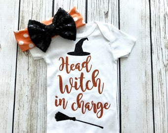 Head Witch In Charge Halloween Orange and Black Bodysuit Outfit