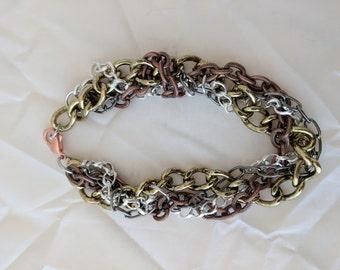 Braided, multi-color chain bracelet