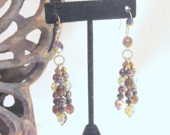 Tassel Earrings, Crystal Tassel Earring, Crystal Jewelry, Brown Czech Glass Earring, Dangle Earring, Bridesmaid Earring, Easter Gift for Her