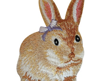 Embroidered Bunny Rabbit Iron On Badge Sew On Patch Clothes Embroidery Applique