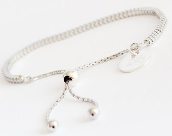 Anna 925 Sterling Silver Slider Bracelet with Free Personalised Engraving, Includes Gift Box & Free Shipping
