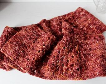 Hand Dyed Alpaca Merino Wool Crochet Infinity Scarf