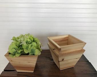 Decorative aspen wood pot, wooden pot, entryway table decor