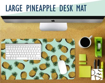 Large Pineapple Print Desk Mat - Choose Your Base Color! 2 Sizes - Extra Large Mouse Pad - Mouse Mat - Extended Mouse Pad - Desk Accessory