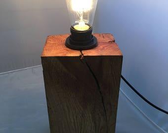 Solid Oak Lamp | Rustic Lamp | Edison Bulb | Reclaimed Lamp | Vintage