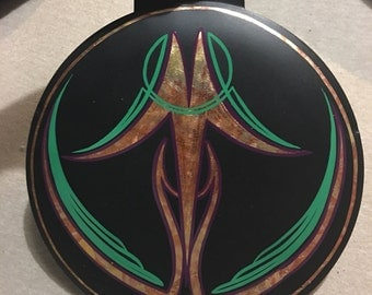 """Wall art with gold leaf & pinstriping 9""""x 9"""" round"""