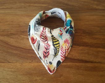 Cream and Multicoloured Feather Print Baby Bandana Bib