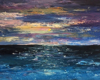 Blue Ocean Stormy Waters Acrylic on Canvas Original Painting Print