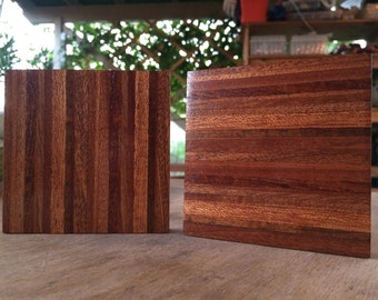 Set of Two Reclaimed Mango and Guava Coasters