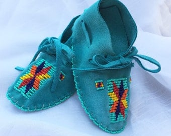 Baby Shower Gift-Baby Soft Sole Leather Shoes-Moccasins-Native American Art-Beaded Moccasins-Boy-Girl Moccasin-TURQUOISE