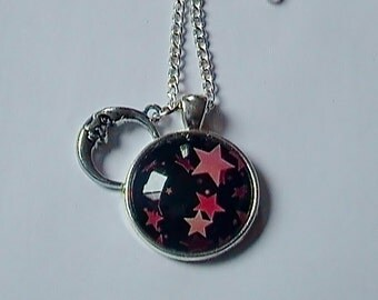 Chain cabochon star 25mm pink