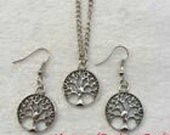 Retro styled Silver Tree of Life Necklace & earrings Set