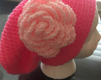 Womens XL pink on pink slouchy hat