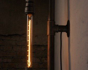 Black steel industrial pipe lamp with a 30 cm edison light bulb