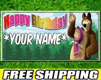 Masha and the Bear Printed Banner Personalized Custom Name Vinyl Banner Happy Birthday Banner
