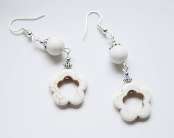 White Flower Howlite Earrings