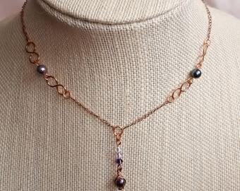 Swarovski Crystal Pearl Drop Necklace - Vintage Inspired