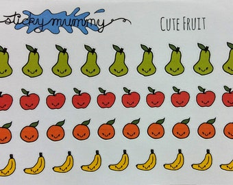 Kawaii Fruit Stickers- Planners, Journals, Diaries