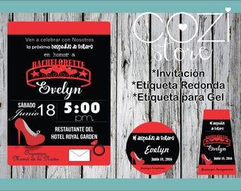 Invitation Bachelorette, red with black