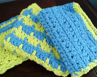Crocheted Spring Dish Cloths Set of 3