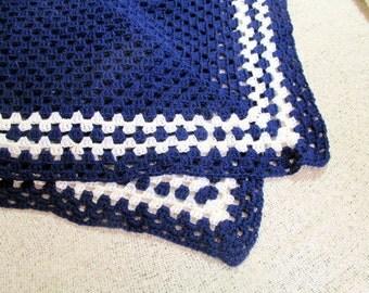 Crochet Shawl / Wrap - Blue and White-stripe Crochet Shawl / Wrap - Sailor Collar Shawl / Wrap
